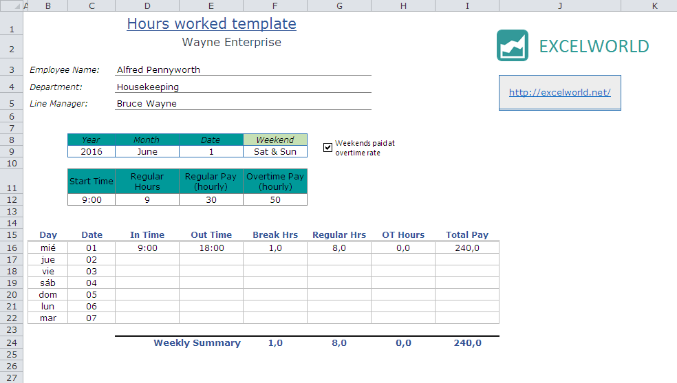 Excel Hours Worked Template