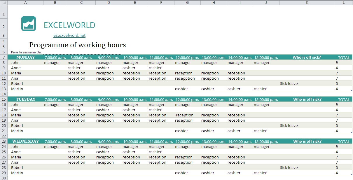excel template for employee working hours