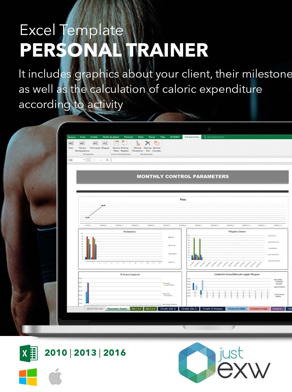 personal trainer template excel training plan model workout chart