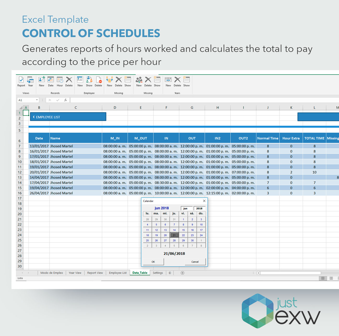 Premium Template Control Of Timetable And Hours Worked Excel Template