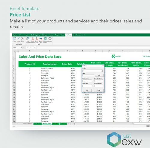 Product price list in Excel